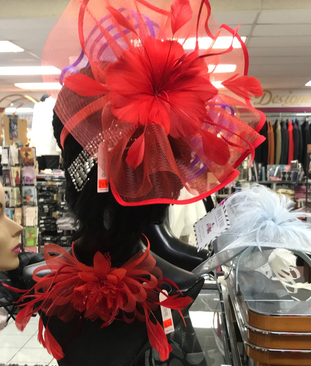 Red Fascinator Head Band