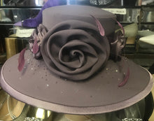 Load image into Gallery viewer, Gray Rhinestone Floral Bow Church Hat - 3620 Autom Rose