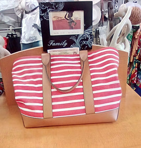 Michael Kors Large Tote  With  Back Pocket  Color - Red And White Stripped