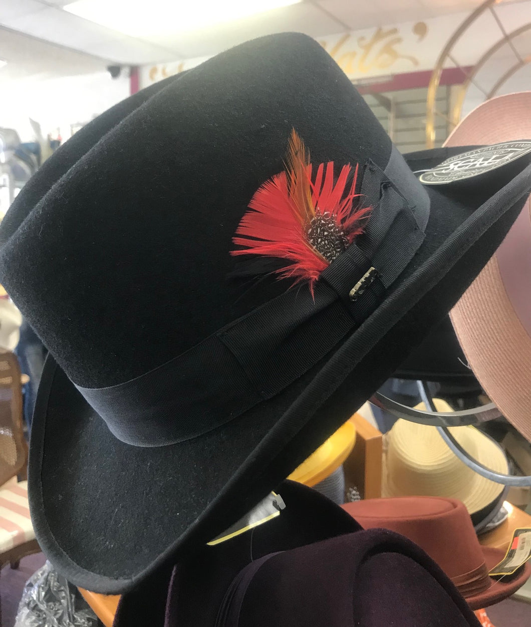 SCALA Black Feather Homburg