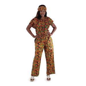 African Imports -  Kente Jumpsuit   SKU: C-WH078 2   (One Size Fits All )