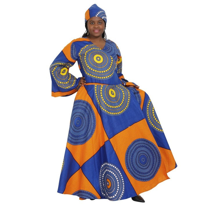Advance Apparels African Full Length Wrap Dress With Bell Sleeves And Matching Head Wrap SKU:1616-21 Color - Blue, Orange,And Yellow