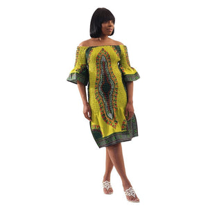 African Imports - Elastic Traditional Print Dress Available Colors - Black, Purple and Lime  Sku:C-WH530 (One Size Fits All)