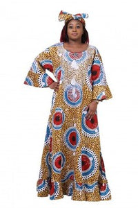 Advance Apparels Long Dress African Wax Print With Matching Embroidery  At Neck, Sleeves And Bottom SKU:1672X-1111 Color -Multi Red, Size -Plus
