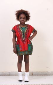 Advance Apparels Youth Girl Dashiki Elastic Waist  SKU : KD1691 Color - Multi, Black,Red, Royal Blue   Size - One Size
