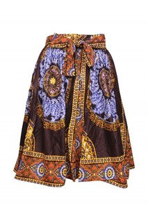 Advance Apparels Mid Length Tie Waist African Wax Print Skirt With Matching Scarf Multi Color One Size Fits All  SKU:	 16321-1120