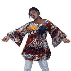 Advance Apparels African Wax Print Shoulder Down Top SKU :  2230-120  Color - Multi  Size - One Size Fits All