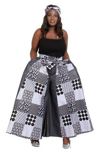 Advance Apparels Full Length Palazzo Pants African Wax Print Cotton  SKU: 19065-140  Color - Black, Grey And White