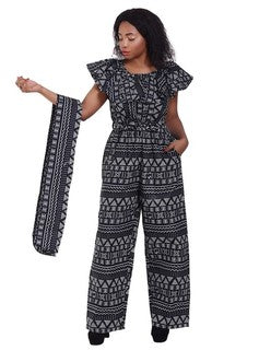 Advance Apparels African Wax Print Jumper  With Matching Scarf  SKU : 2188-29 Color -  Black And White  Size - One Size Fits All