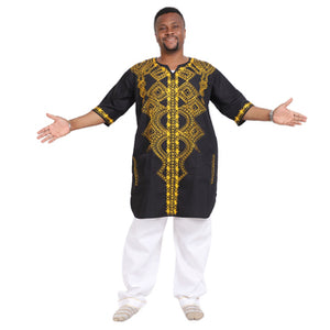 Advance Apparels Long Length Men's Dashiki Top Inspired  By Black Panther  Color - Black And Gold  Size 1X -2X SKU: 4517