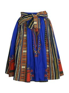 Advance Apparels Dashiki Print 4 Panel Mid Length Skirt With Wax Bow SKU: 18321 Color - Multi