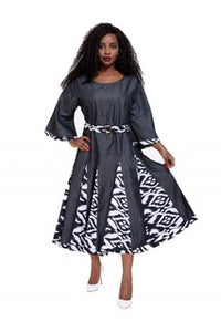 Advance Apparels Dress African  Print With Scarf Light Weight Denim Material  SKU:2193-419  Size - One Size Fits All