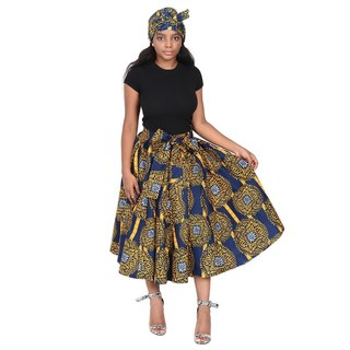 Advance Apparels Mid Length Tie Waist African Wax Print Skirt With Matching Scarf SKU:19421-160  Color - Multi Blue And Gold