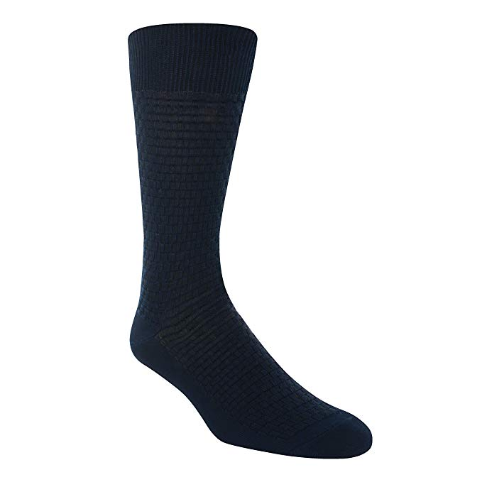 Stacy Adams Basket Weave Navy Crew Socks - 11848-410