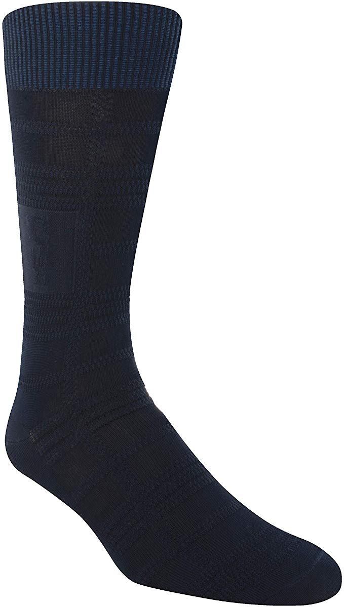 Stacy Adams Plaid Crew Navy Socks - 11687-410