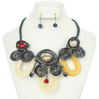 Sophia Collection Jewelry - Beautiful Media Natural Colors Acrylic Wire Necklace  SKU:NEY10526MU