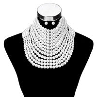 Sophia Collection - 13 Line  Pearl Choker  Set - Necklace And Earrings   Colors - White and Cream  SKU: NPY116GCR
