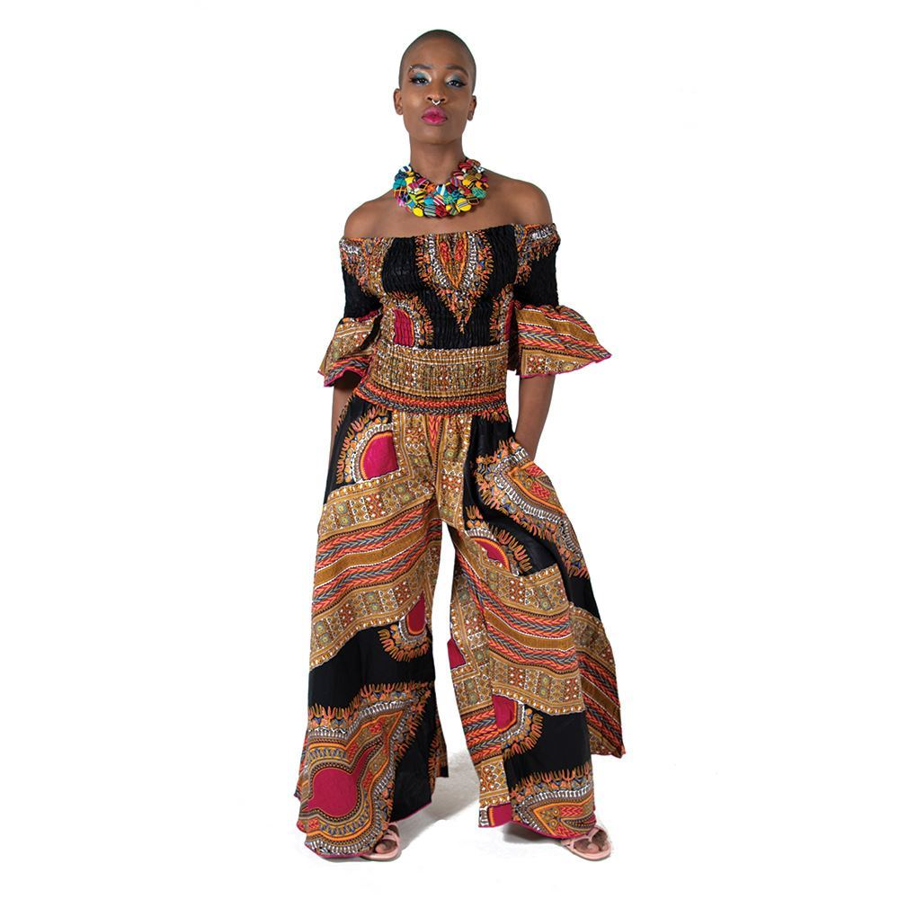 African Imports - Black Trad Print Off-Shoulder Jumpsuit  SKU: C-WO98   (One Size Fits All )