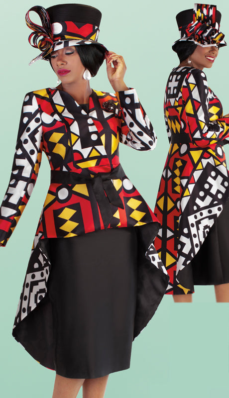 Tally Taylor  3 Piece Silk Novelty Skirt Suit With High Low Print Jacket Including Sash  & Brooch Size 16, 18 SKU:4705