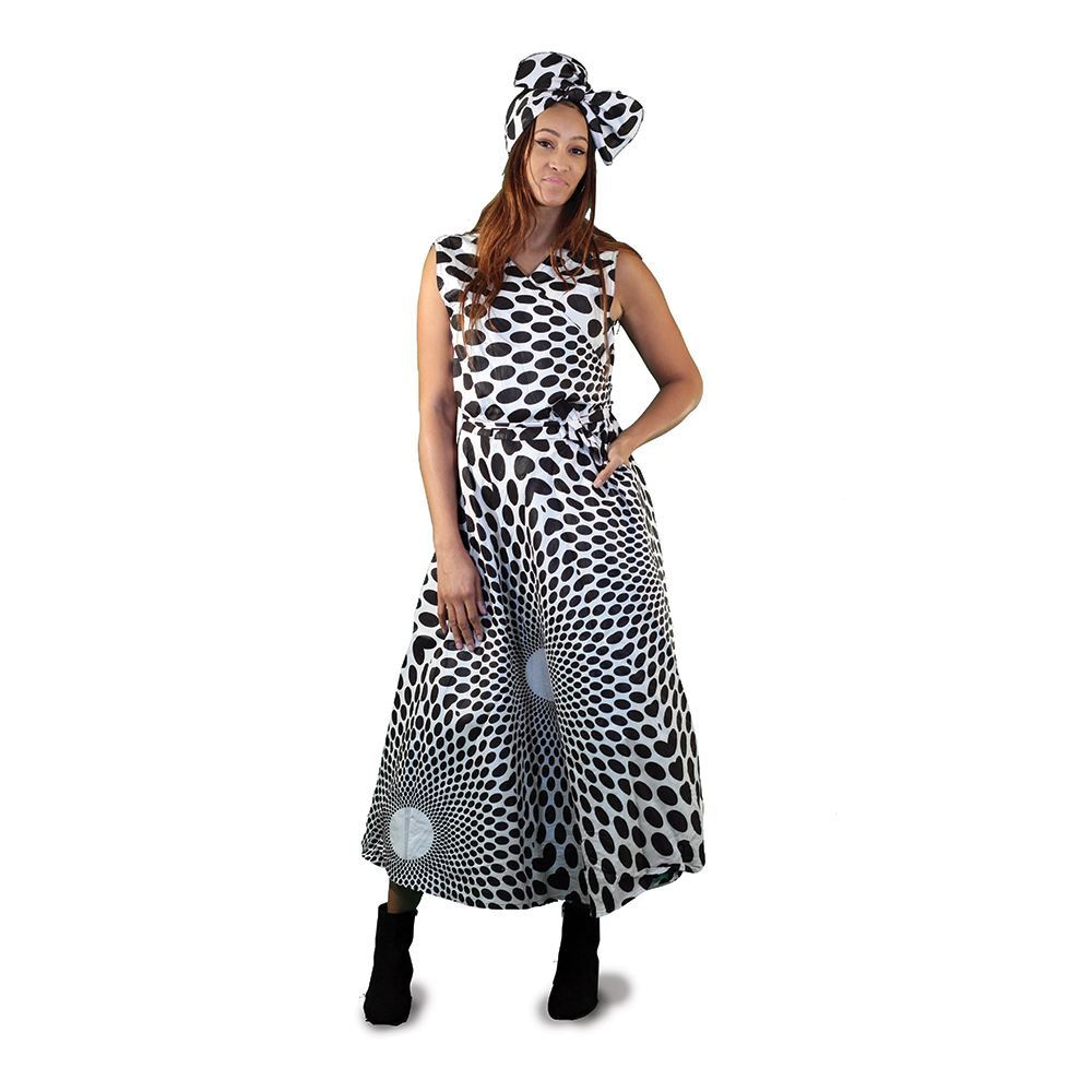 African Imports - White And Black Polka Dot Wrap Dress  Sku: C-WH381 (One Size Fits All)