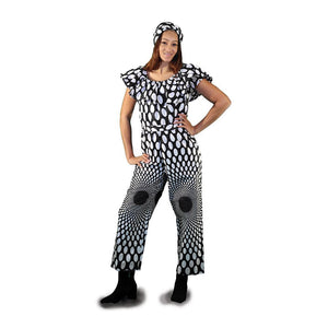 African Imports - Black And White  Polka Dot Jumpsuit  SKU: C-WH383  (One Size Fits All )