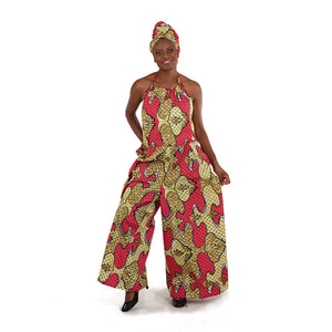 African Imports - African Print Romper: Pink/Yellow  SKU: C-WK065   ( One  Size Fits All )