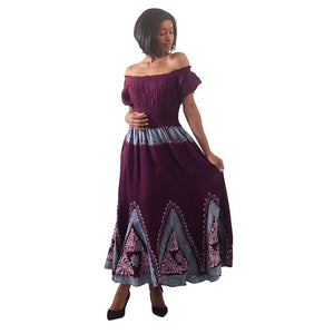 African Imports -  Batik Princess Dress  Color - Maroon / Turqoise   SKU: C-WH646:Mar/Trq    ( One Size Fits All )