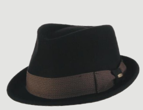 SCALA Black Wool Felt Fedora Trilby With Tie Print Band