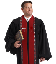 Load image into Gallery viewer, Red / Black Velvet Robe - RT Wesley H-179