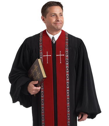 Red / Black Velvet Robe - RT Wesley H-179