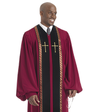 Load image into Gallery viewer, Maroon / Black Velvet Robe - RT Wesley H-180