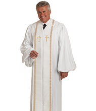 Load image into Gallery viewer, Tailored White / Gold Crepe Robe With Velvet Panels -RT Wesley H-94M
