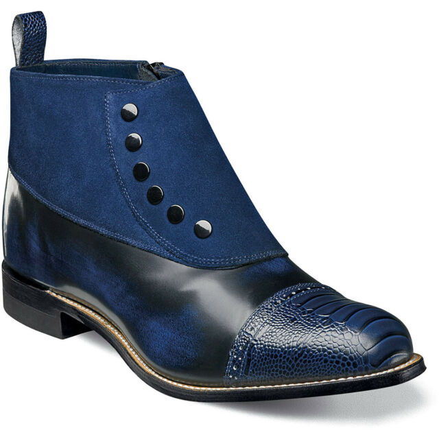 Stacy Adams Mens Madison Cap Toe Side Zip Suede And Leather Boot Color-Navy And Black