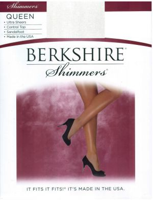 Berkshire Shimmers Ultra Sheers Control Top 4412 Queen Platinum