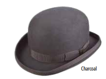 SCALA Charcoal Grey Structured Wool Felt Bowler Hat