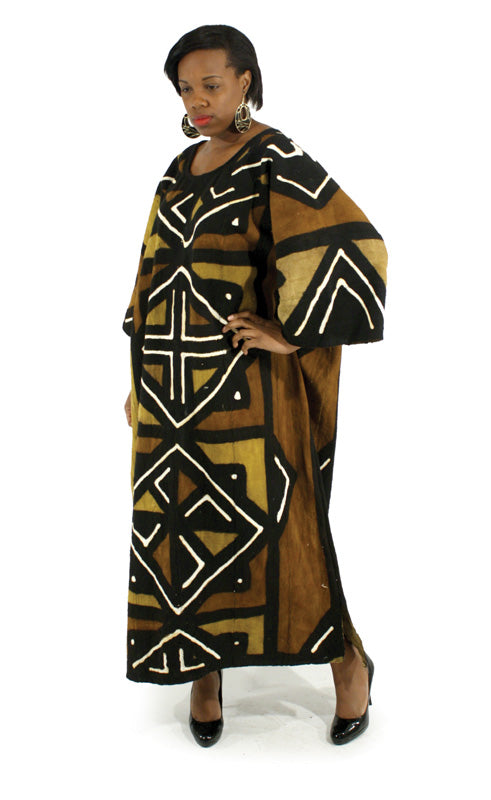 Africa Imports - Mudcloth Full Length Dress  Sku: C-W201 (One Size Fits All)