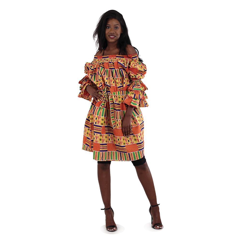 African Imports - Kente Off The Shoulder Short Dress  Sku:C-WH082:1  (One Size Fits All)