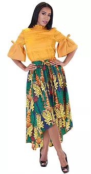 African High Low Skirt NYC Color - Navy / Lime  Size 1X   Style: 8641