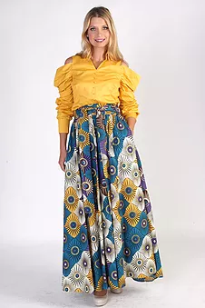 African Print Maxi Skirt  Blue Multi Color Size Large