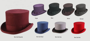 SCALA Structured Wool Felt Top Hat With Grosgrain Bow Band (8 Colors)