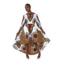Load image into Gallery viewer, African Imports - Formal Traditional Print Hi-Lo Dress 2 colors White / Black  SKU: C-WK023