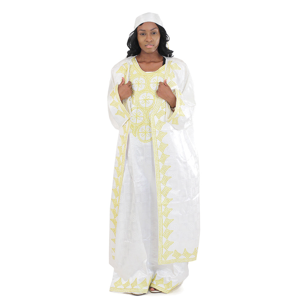 African Imports - African Queen Dress & Jacket Set Multiple Colors  Black, White, Burgundy SKU:C-WH361 (One Size Fts All)
