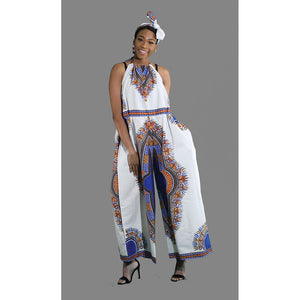 African Imports - Traditional Print Romper: White/Blue  SKU: C-WK077   ( One Size Fits All )