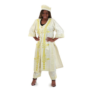 African Imports - African Queen Jacket & Pants Set  - White  SKU; C-WH342  ( One Sizes  Fits All )