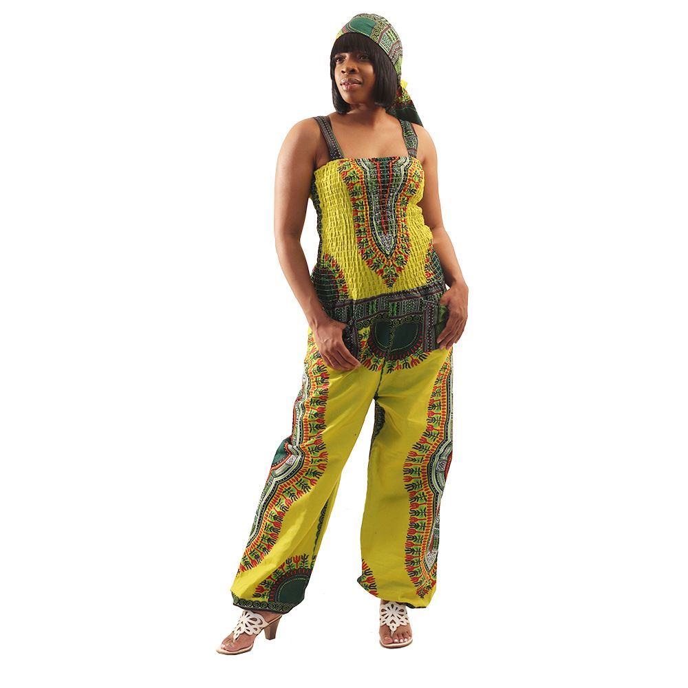 African Imports - Traditional Print Jumpsuit   SKU: WH537 Yellow     ( One Size Fits All )