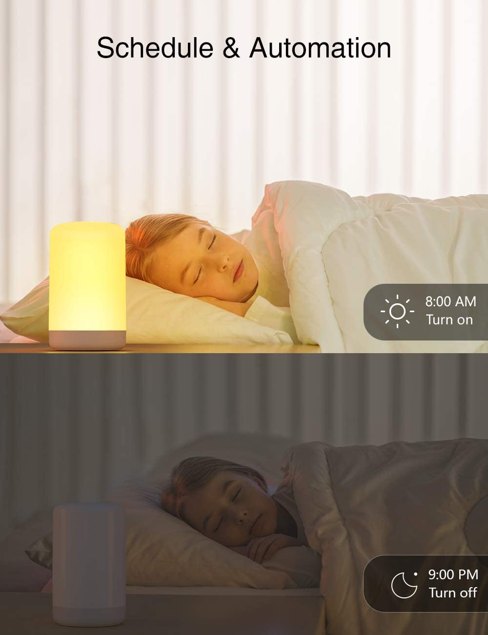 IGETTOCO Smart Table Lamp Dimmable Warm White and Color Changing RGB LED Nightstand Lamp