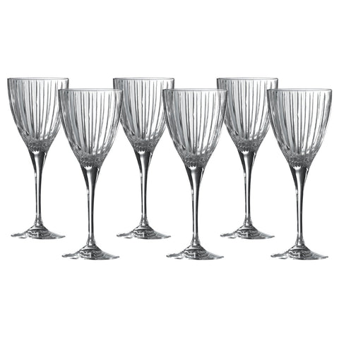 Royal Doulton Crystal Linear Set of 6 Wine Glasses