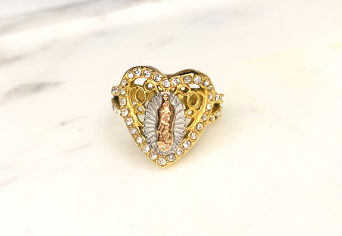 18k Tri-Gold plated Virgin Mary Ring