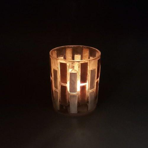 貝殼蠟燭台 Capiz seashell tealight holder (rectangular pattern) - lifebuyhk