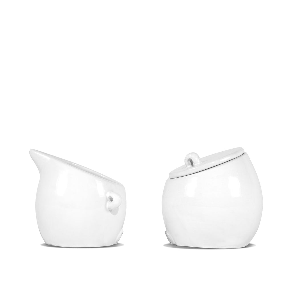 sugar and creamer set, white ceramic